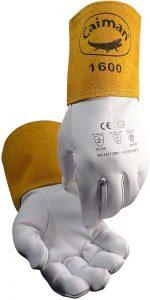 Caiman White Goatskin, Long Cuff, Welding Gloves