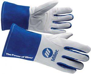 Welding Gloves, 3D, Wing, 11In, White-Blue, PR